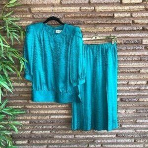 Argenti Vintage 80s Teal Silk 2 Piece Outfit